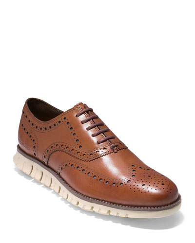 Men's ZeroGrand Leather Wing-Tip Oxford, Brown