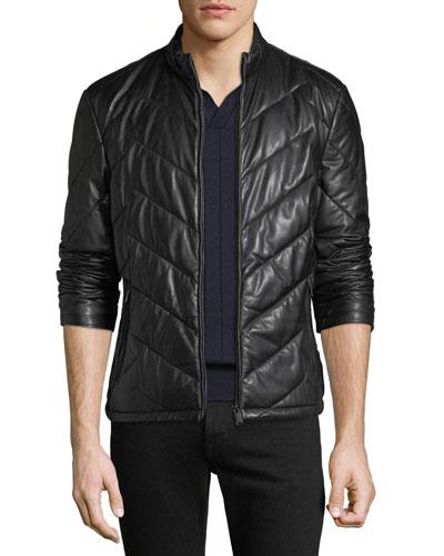 Men's Zip-Front Chevron-Quilted Lamb Leather Jacket