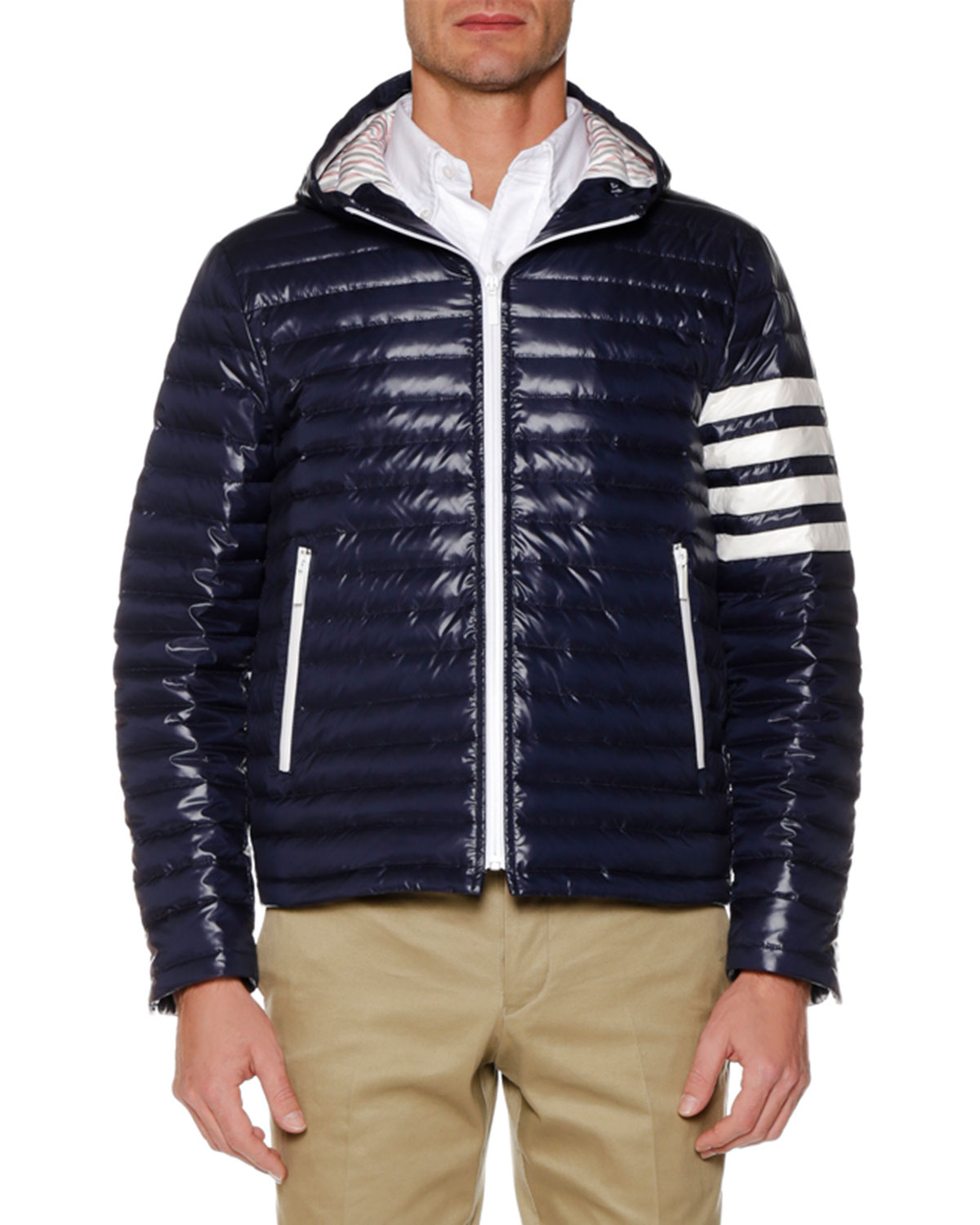 THOM BROWNE MEN'S FOUR-BAR STRIPE DOWN FILL QUILTED HOODED JACKET