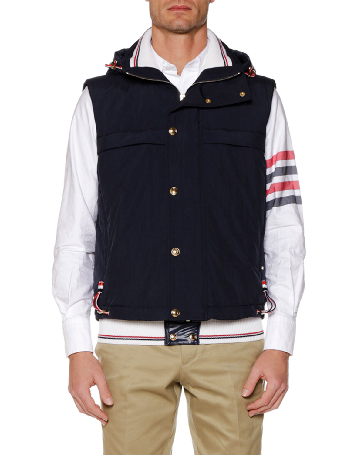 THOM BROWNE MEN'S FOLD-OUT HOOD SNAP-FRONT TECH DOWN VEST