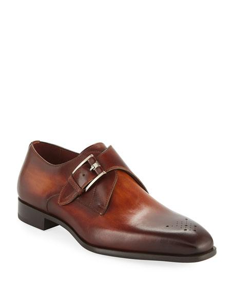Magnanni for Neiman Marcus Men's Single-Monk Leather Shoes
