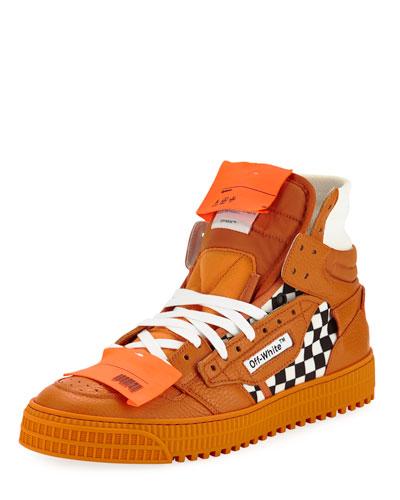 Men's Low 3.0 Leather High-Top Sneakers, Orange
