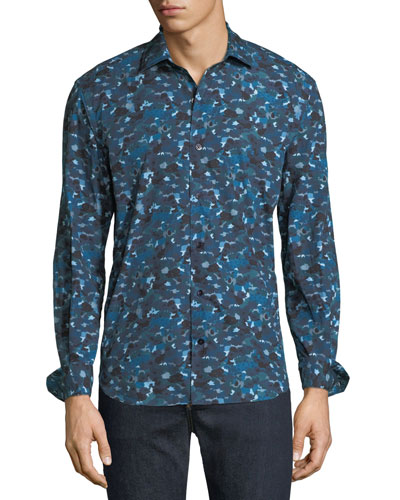 Men's Abstract-Print Cotton Sport Shirt