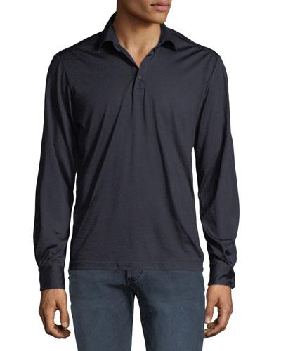 Men's Premium Wool Long-Sleeve Polo Shirt