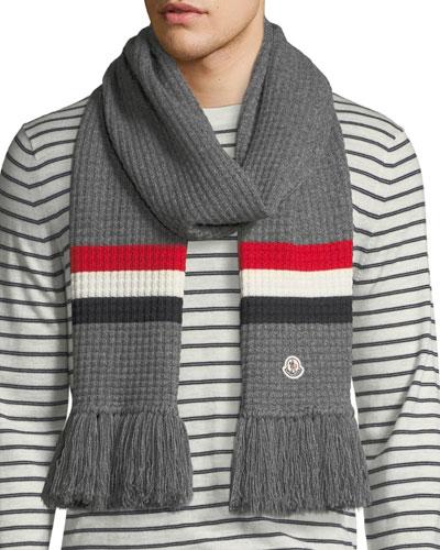 Men's Tricot-Knit Scarf w/ Fringe