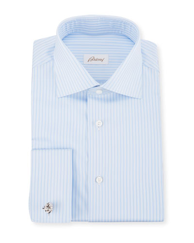 Men's Tonal-Stripe French-Cuff Dress Shirt