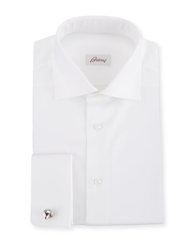 Men's Diamond-Weave French Cuff Dress Shirt