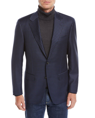 Men's Check Wool Two-Button Sport Coat Jacket