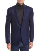 Canali Men's Solid Herringbone Two-Button Blazer