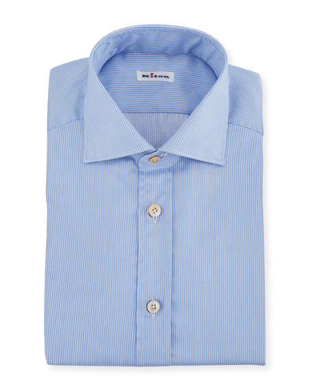 Kiton Men's Needle-Stripe Barrel-Cuff Dress Shirt