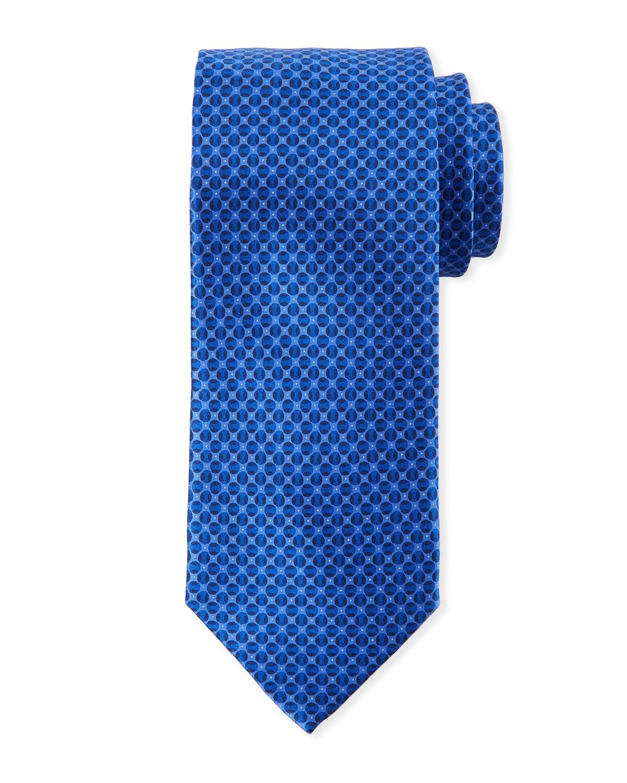 Men's Tonal Circles Silk Tie, Blue