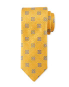 Canali Men's Fancy Medallion Silk Tie, Yellow