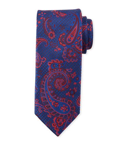 Paisley-On-Jacquard Silk Tie, Red