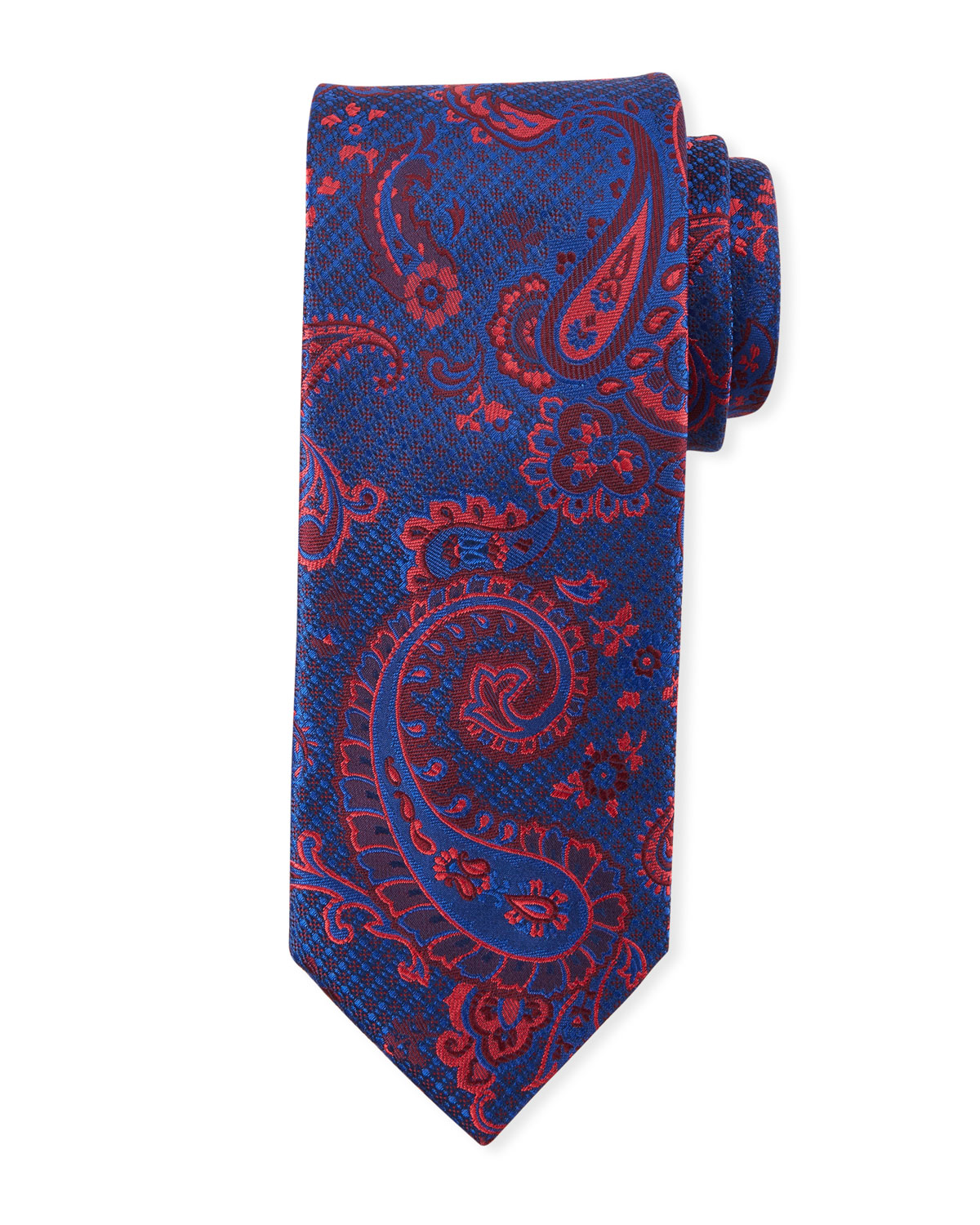 Paisley-On-Jacquard Silk Tie, Red