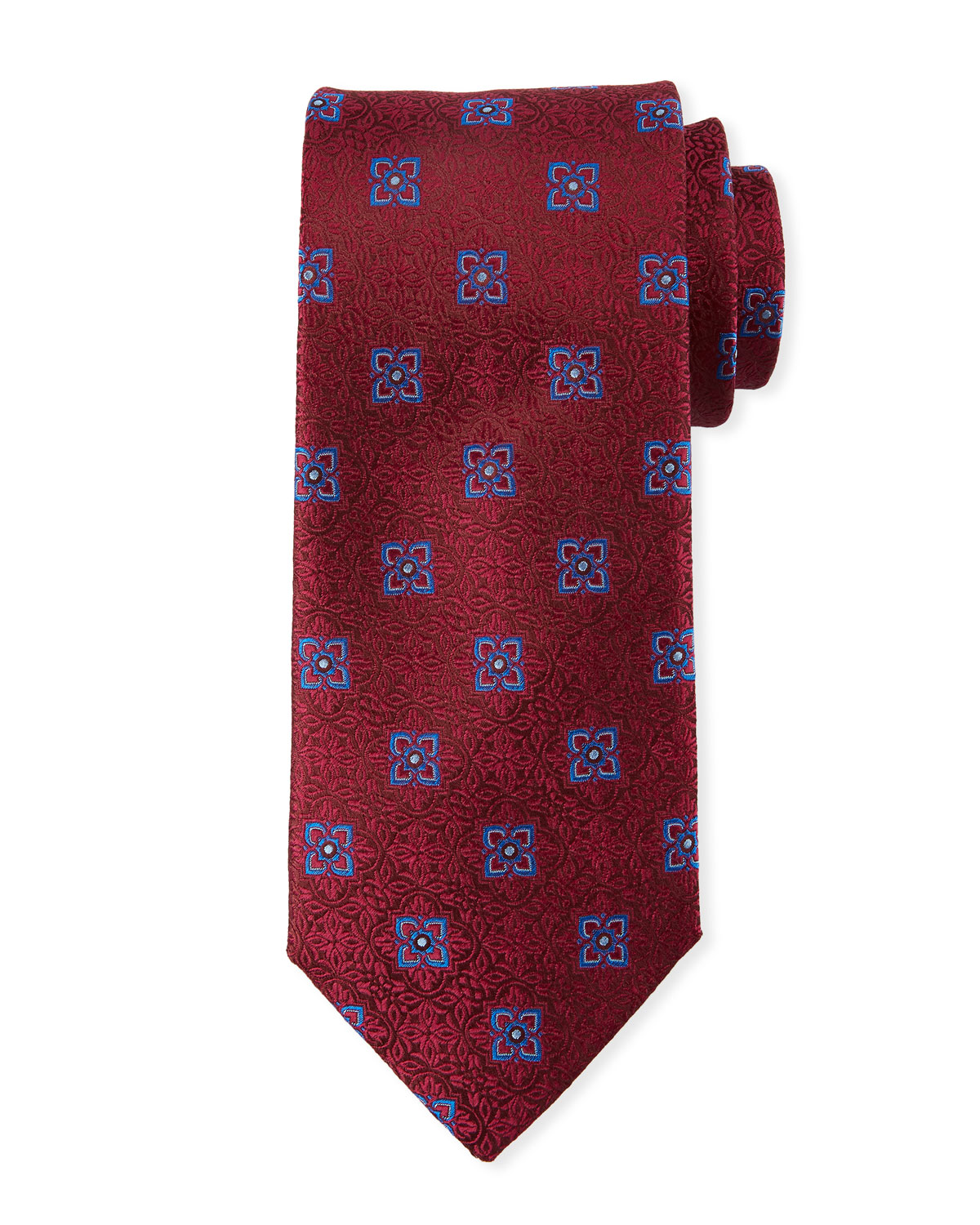 Men's Fancy Medallion Silk Tie, Red