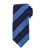 Canali Men's Double Repp Stripe Silk Tie, Blue