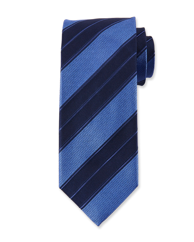 Men's Double Repp Stripe Silk Tie, Blue