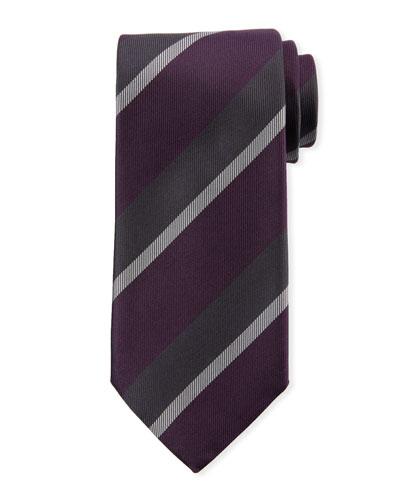 Large Repp Stripe Silk Tie