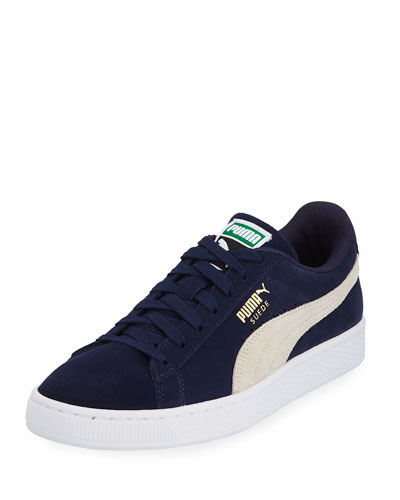 Men's Classic Suede Low-Top Sneakers, Blue
