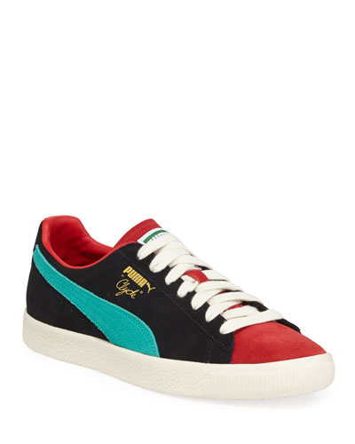 Men's Clyde Colorblock Suede Platform Low-Top Sneakers
