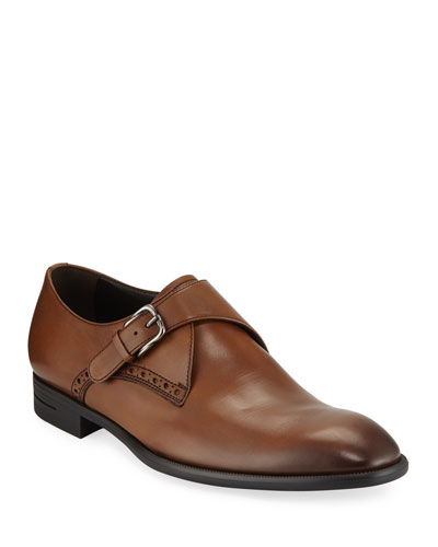 Men's New Flex Monk-Strap Shoes, Brown