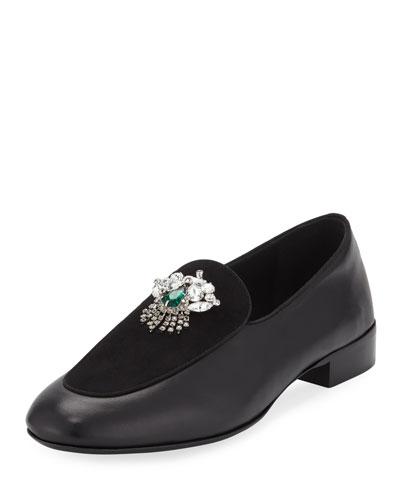 Men's Leather/Suede Dress Loafer with Swarovski® Crystal Ornament