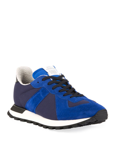 Maison Margiela Men's Replica Nylon & Suede Runner Sneakers, Blue
