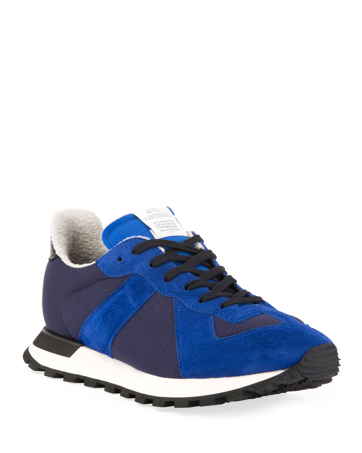 Men's Replica Nylon & Suede Runner Sneakers, Blue