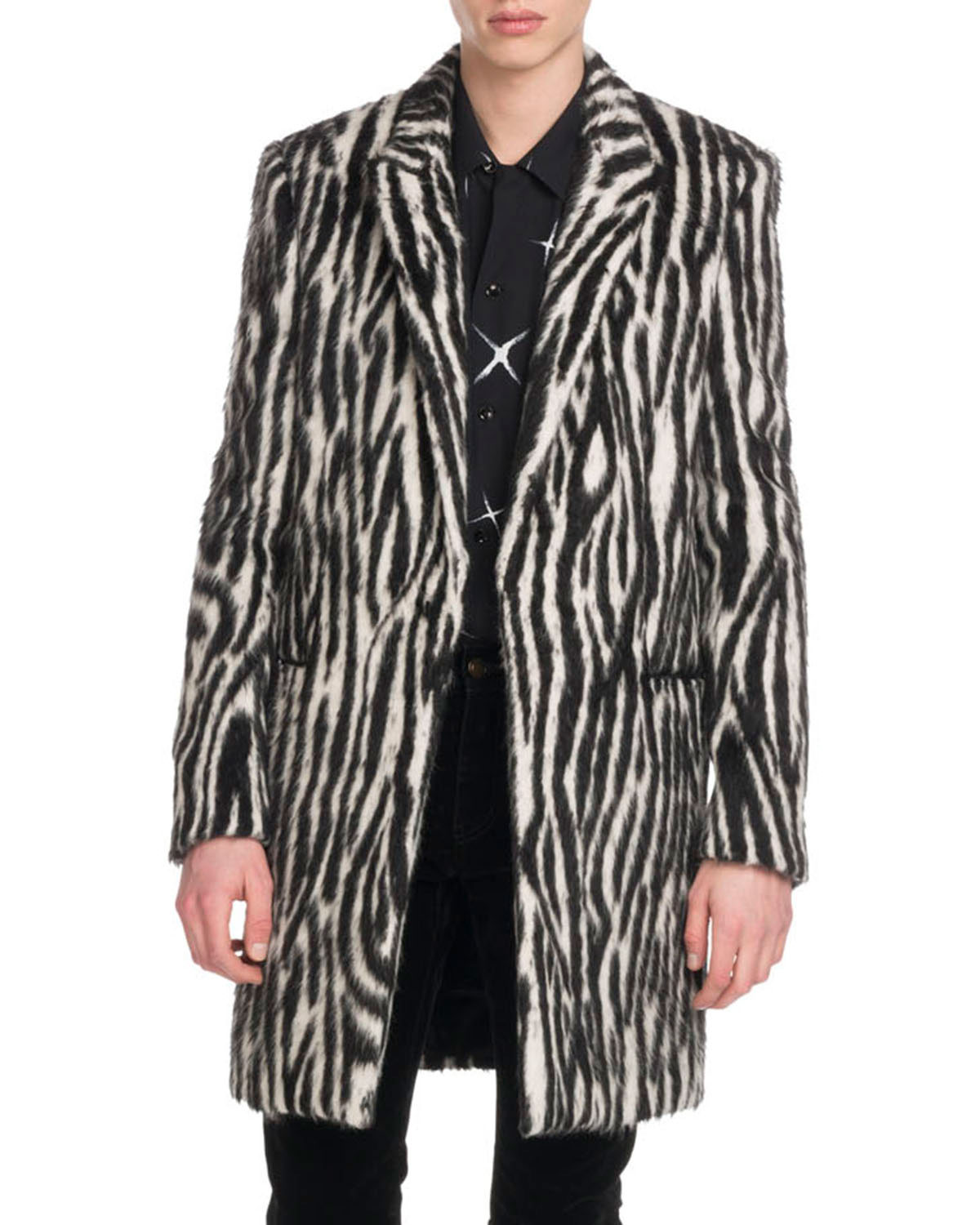 Men's Zebra-Stripe Fleece Coat
