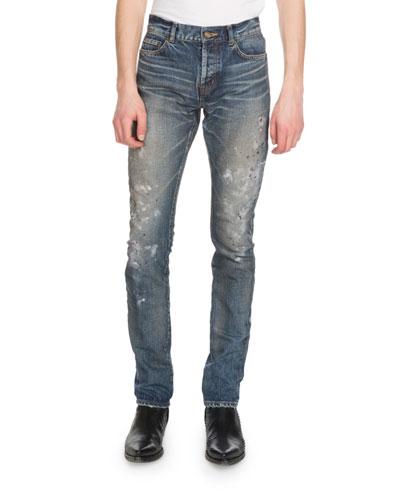 Men's Slim-Fit Painted Jeans