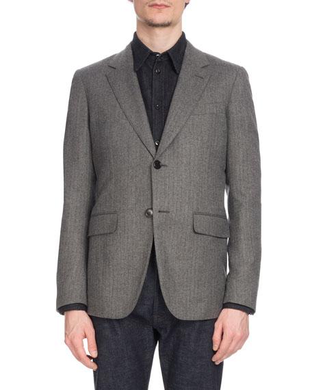 Berluti Men's Two-Button Wool Herringbone Blazer