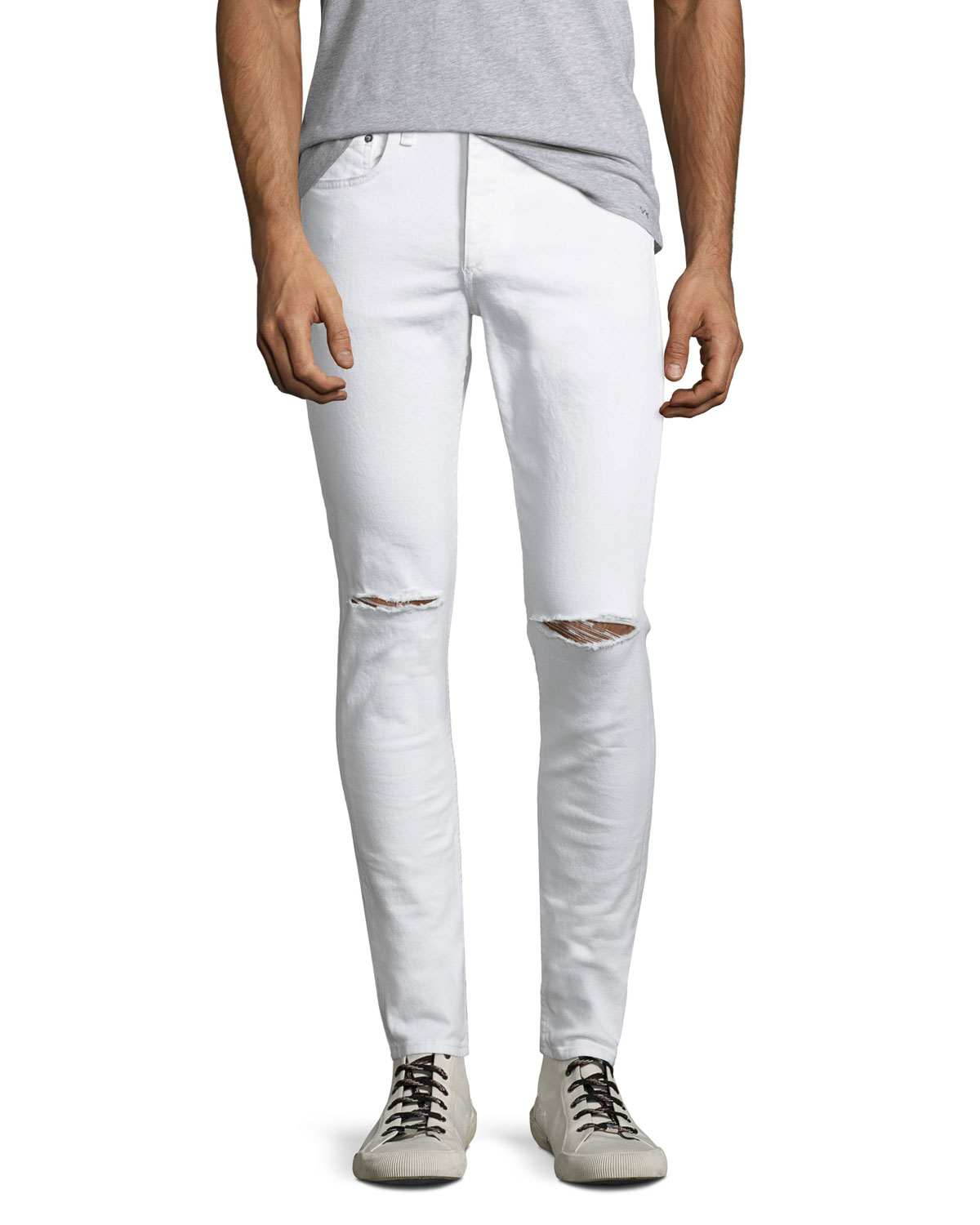 Men's Standard Issue Fit 1 Slim-Skinny Jeans with Ripped Knees