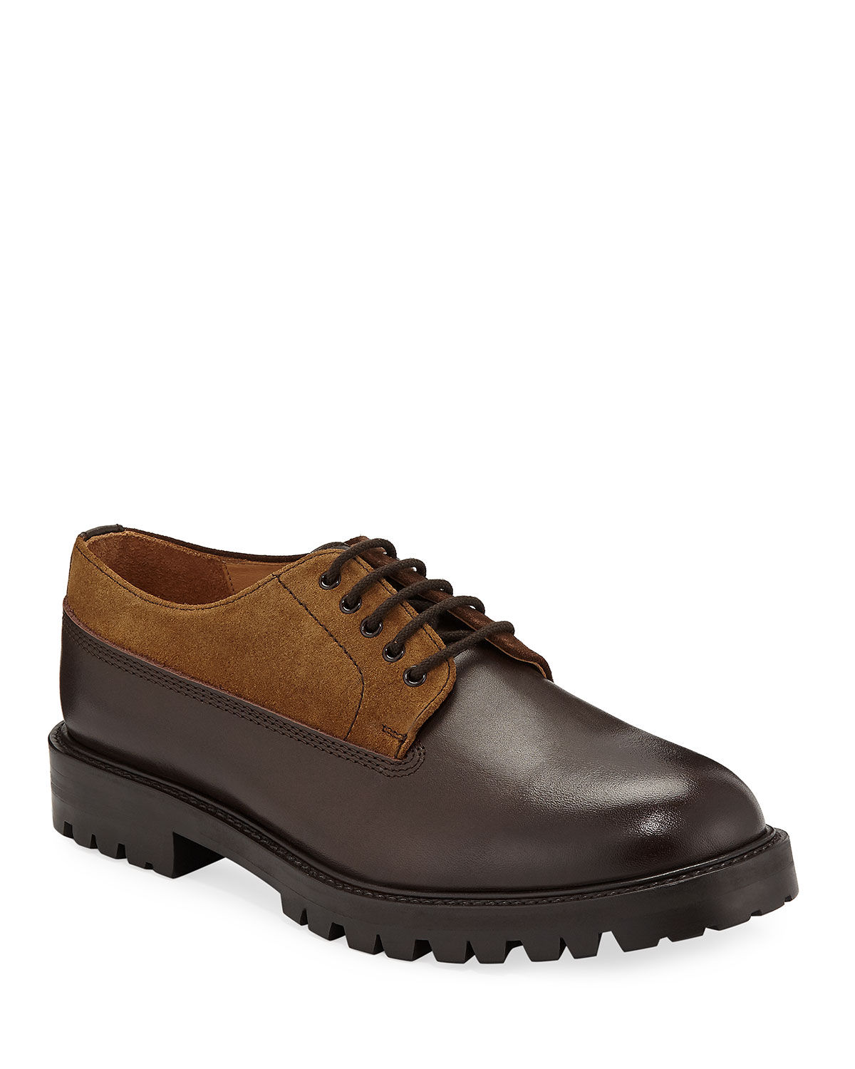 HENDER SCHEME Percy Leather & Suede Lace-Up Shoes in Brown
