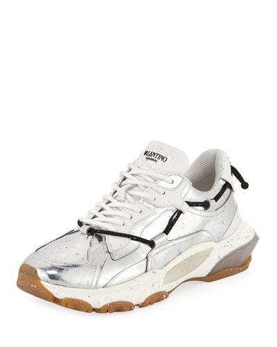 Men's Speckled Metallic-Leather Dad Sneakers