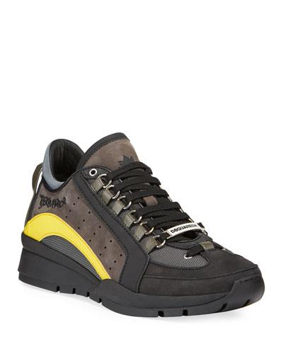 Men's High-Sole Colorblock Nubuck Leather Sneakers