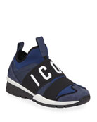 Dsquared2 Men's Neoprene & Leather Trainer Sneakers, Blue/Black