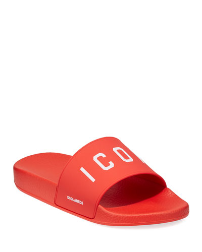 Men's Logo Rubber Slide Sandals, Red/White