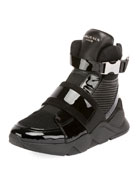 Balmain Men's Mesh High-Top Sneakers with Patent Leather