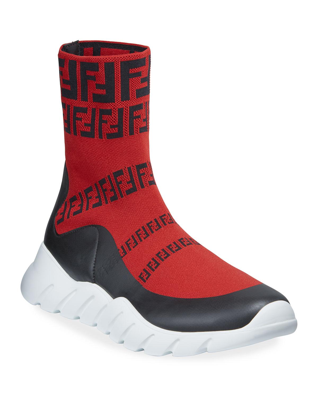 Men's FF Print Sock Boot Sneakers, Red