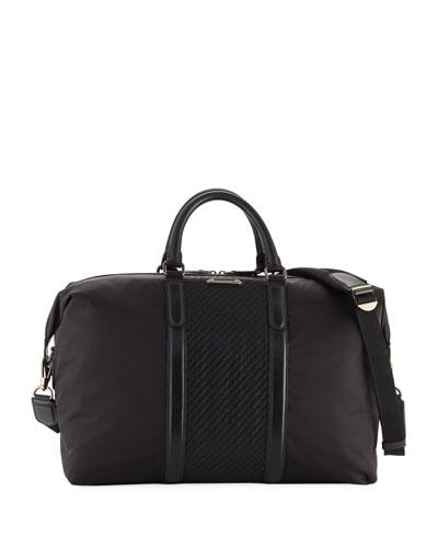 Men's Pelle Tessuto-Trim Weekender Bag