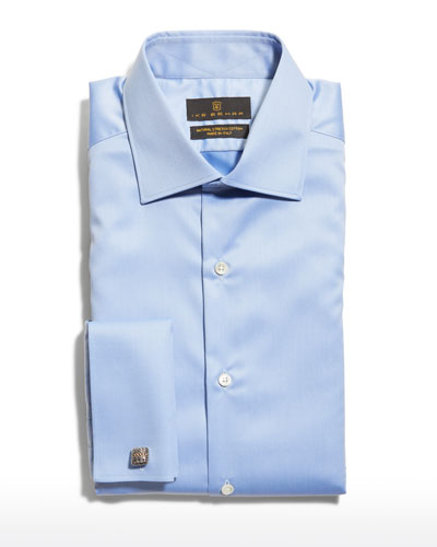 Men's Marcus French-Cuff Twill Dress Shirt, Blue