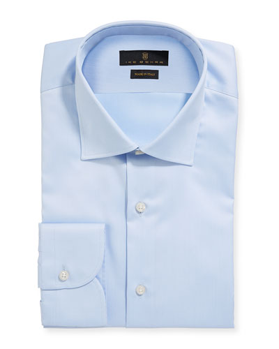 Men's Marcus Twill Barrel-Cuff Dress Shirt, Light Blue