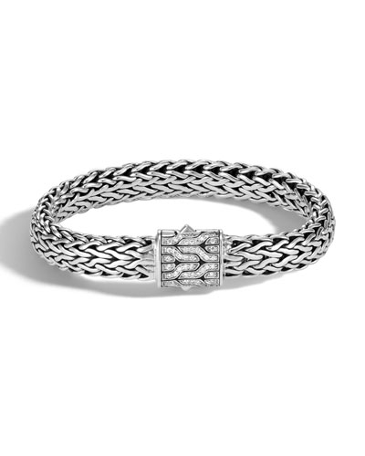 Men's Classic Chain Silver Diamond Pave Flat Chain Bracelet - Medium