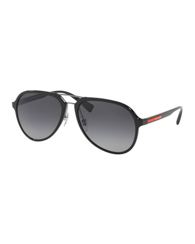 Men's Plastic Gradient Polarized Aviator Sunglasses