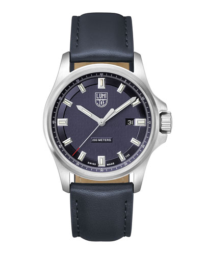 Men's Dress Field Watch with Leather Strap, Navy