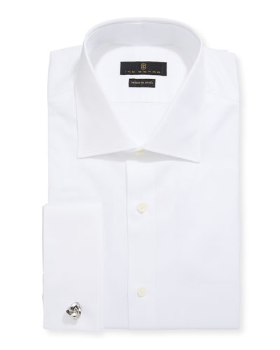 Men's Marcus Twill French-Cuff Dress Shirt, White