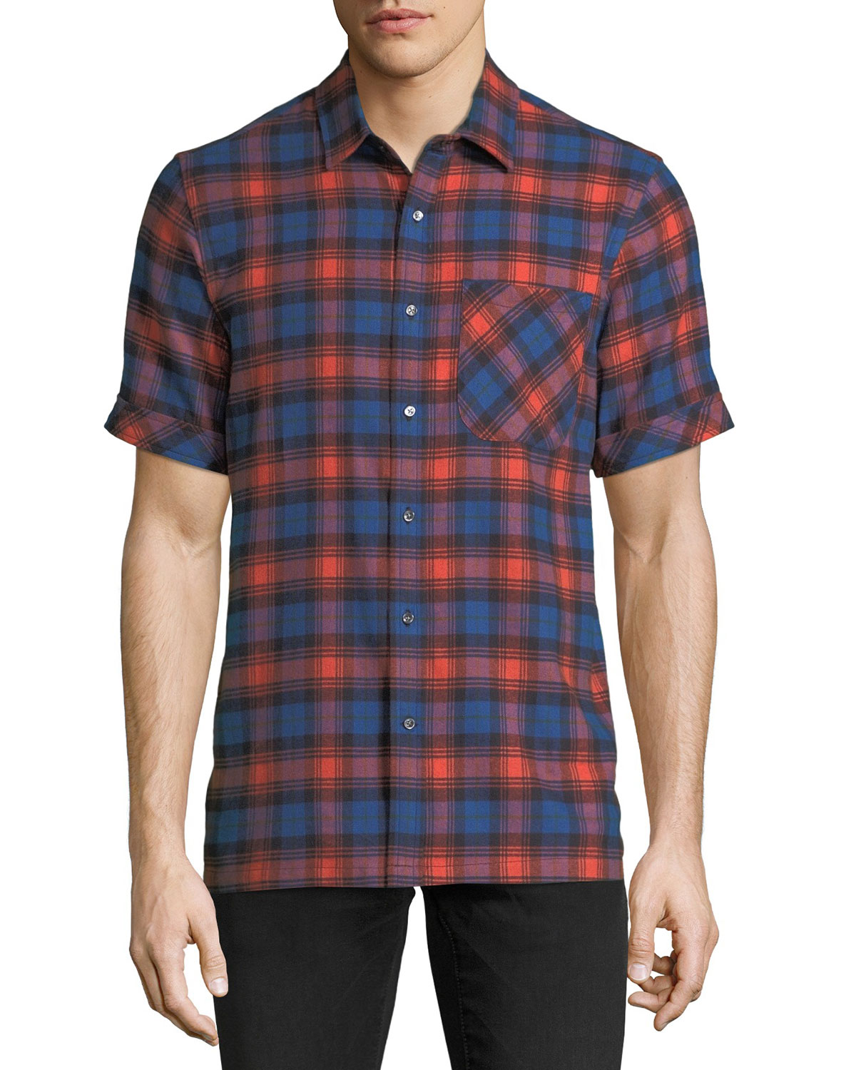Men's Plaid Short-Sleeve Camp Shirt