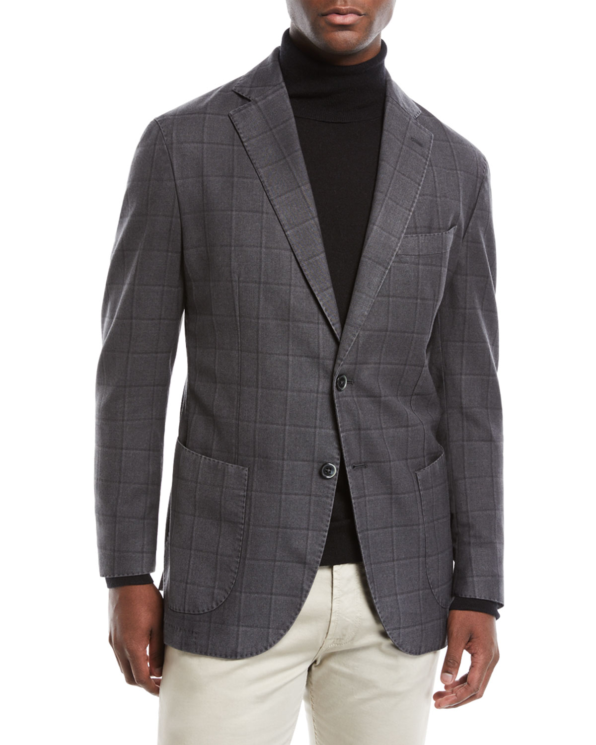 Men's Windowpane 2-Button Jacket
