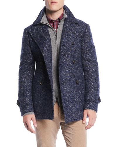 Men's Boucle Wool-Blend Pea Coat