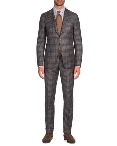 Men's Multi-Check Wool-Cashmere Two-Piece Suit